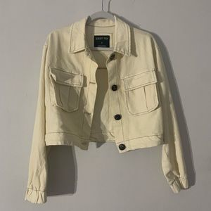 Cream Cropped Jacket with Tortoise Buttons Small